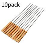 BBQ Kebab Skewers Stainless Steel Barbecue Forks with wooden handle Set of 10