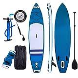Tomasa Aufblasbare Boards Doppelschicht iSUP aufblasbares Stand Up Paddle 330 x 80 x 18 cm PVC Mit Hochdruck-Pumpe Tasche(DE Lager) (Blau)