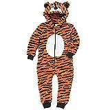Animal Crazy Jungen Supersoft Vlies Tiger Onesie Overall - Orange Streifen, Jungen, 128-134
