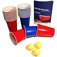 Red-and-Blue-BeerCups-Party-Pack-Rote-und-Blaue-Becher-fr-Party-und-Beer-Pong-inkl-Blle-und-Regelwerk-100-Rot-und-100-Blau-inkl-15-Blle Red and Blue BeerCups Party Pack Rote und Blaue Becher für Party und Beer Pong inkl. Bälle und Regelwerk (100 Rot und 100 Blau inkl. 15 Bälle) -