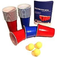 Red-and-Blue-BeerCups-Party-Pack-Rote-und-Blaue-Becher-fr-Party-und-Beer-Pong-inkl-Blle-und-Regelwerk-100-Rot-und-100-Blau-inkl-15-Blle