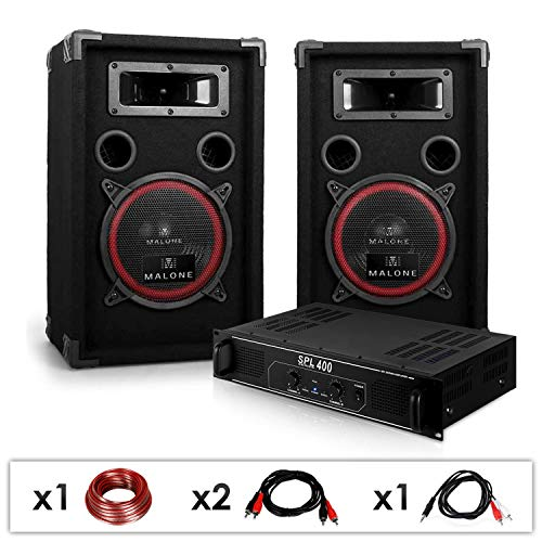 Elektronik-Star DJ PA-Set DJ-12 1000 Watt mit PA-Verstärker SPL-400 und 500W PA-Boxen Auna XEN-3580 + Kabelset