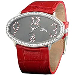 Moog Paris - Egg - Women's Watch with black dial, red strap in genuine calf leather - - Made in France - M44142F-012