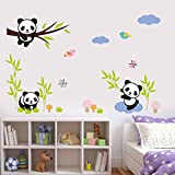 GoldenCart Cute Baby Panda Wall Stickers Decal Wallpaper For Kids Home Living Room Bedroom Inviting Your Kids To Play With Them And Stay Cool (107 Cm * 80 Cm Finished Size On Wall, Self-adhesive PVC Sticker, LARGE)