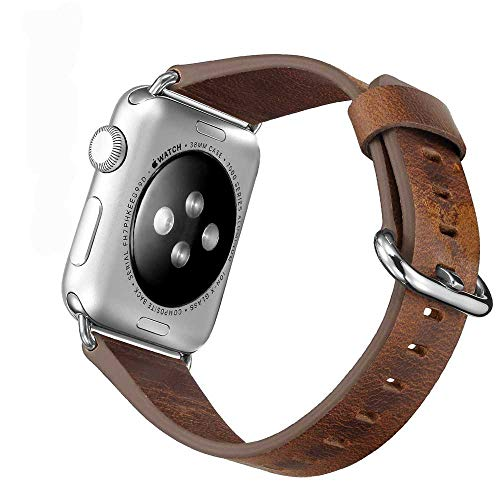 TEZER 5 Farben Für Apple Watch Armband 38/42mm, Wax Series iWatch Leder Band/Armbänder für Apple Watch Series 3, Series 2, Series 1,42mm Uhrenarmband (42mm, Braun) Apple Farbe