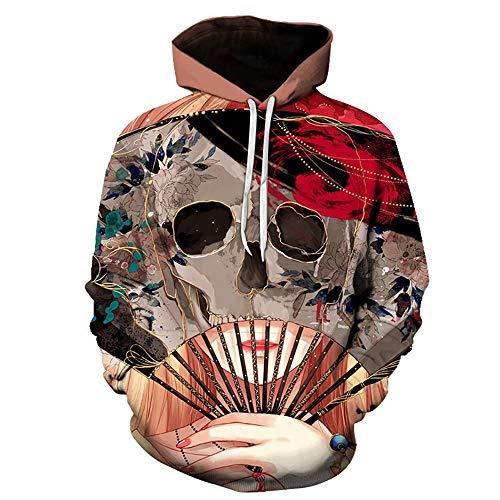 WEIYIDQ Kapuzenpullover Freizeitkleidung Großer Herbst Winter Bunt Bemalt Digitaler Hut Halloween Pullover. Braun M