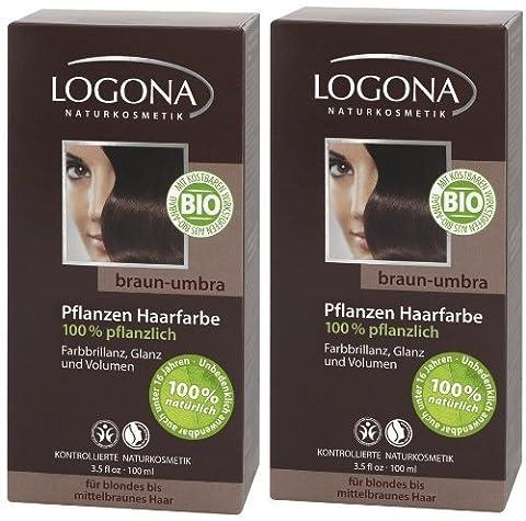 Logona Henna Haarfarbe Pflanzenhaarfarbe braun umbra im Doppelpack 2 x 100 g