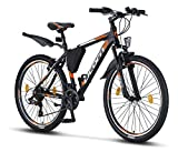 Licorne Bike Effect (Schwarz/Orange) 26 Zoll Mountainbike, geeignet ab 150 cm, Shimano 21 Gang-Schaltung, Gabelfederung, Jungen-Fahrrad & Herren-Fahrrad, Rahmentasche