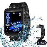 AZWE Rastreador de ejercicios, monitor de actividad de pantalla táctil a todo color Monitor de presión arterial de frecuencia cardíaca, reloj inteligente Bluetooth 4.0 Contador de calorías Reloj depo