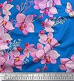 Soimoi Blau Satin Seide Stoff Vogel & Orchideen Blume Dekor