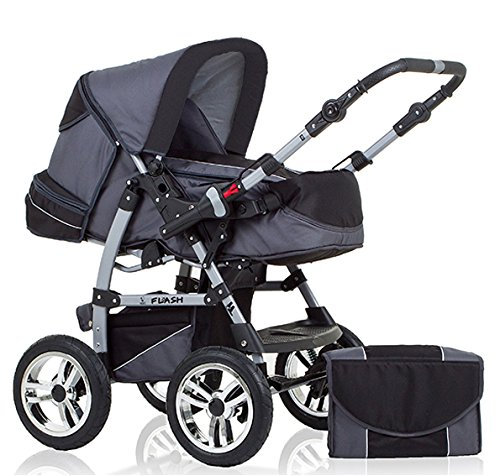 "14 teiliges Qualitäts-Kinderwagenset 2 in 1 ""FLASH"": Kinderwagen + Buggy - Megaset – all inklusive Paket in Farbe GRAU-SCHWARZ"