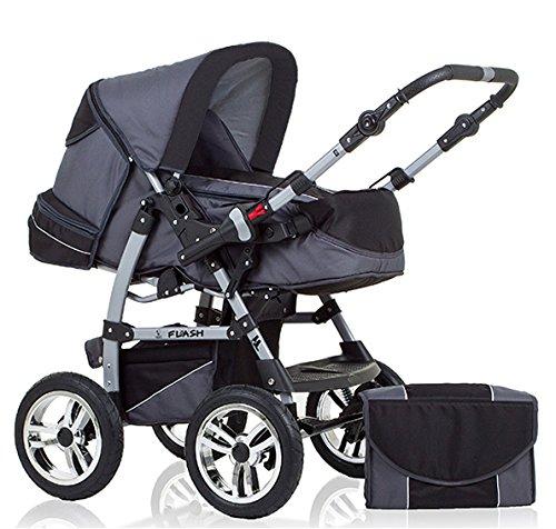 """14 teiliges Qualitäts-Kinderwagenset 2 in 1 """"FLASH"""": Kinderwagen + Buggy - Megaset – all inklusive Paket in Farbe GRAU-SCHWARZ"""
