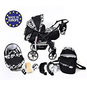 Sportive X2, 3-in-1 Travel System incl. Baby Pram with Swivel Wheels, Car Seat, Pushchair & Accessories (3-in-1 Travel System, Black & Flowers)   13