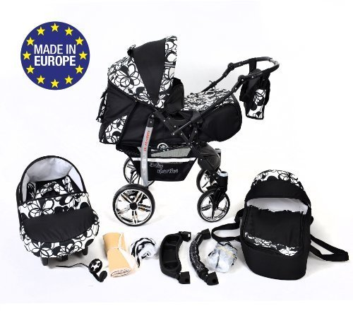 3-in-1 Travel System incl. Baby Pram with Swivel Wheels, Car Seat, Pushchair & Accessories, Black & Flowers 51pGPxn0XxL