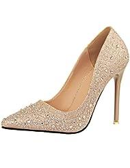 OALEEN Escarpins Strass Princesse Bout Pointu Chaussures Talon Haut Aiguille Mariage Femme
