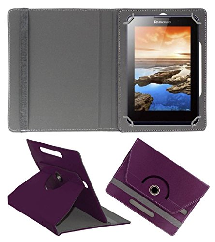ACM Rotating Leather Flip Case for Lenovo A7-30 2g A3300-Gv Cover Stand Purple