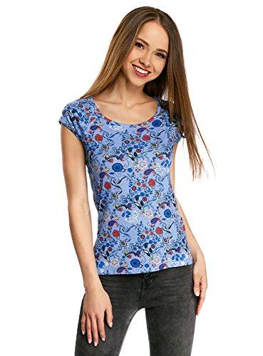 oodji Collection Damen T-Shirt Aus Texturiertem Stoff mit Raglan-Ärmeln, Blau, DE 42/EU 44/XL (Raglan-Ärmel Kurze)
