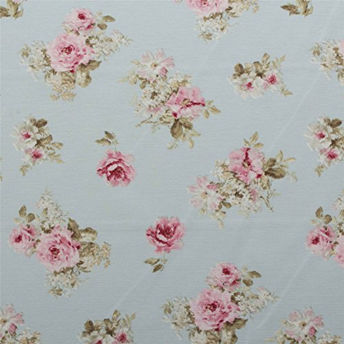 Duck Egg Vintage Chintz Floral Print Retro Shabby 100 Cotton Curtain Upholstery Fabric