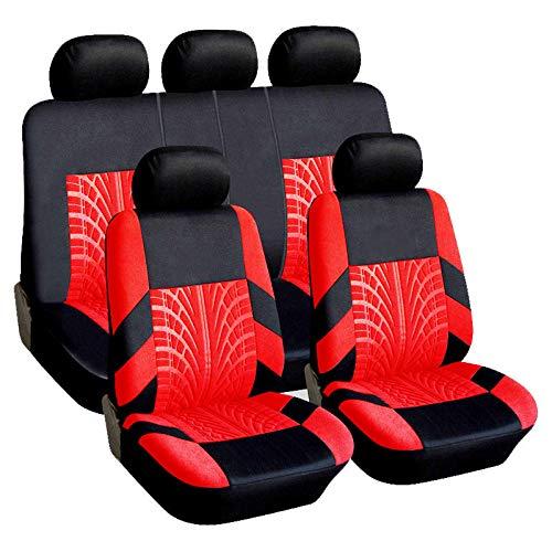 RONSHIN Accessori da auto per coprisedili universali traspiranti da 9 pezzi/set rosso