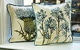 McAlister Textiles Novelty Kollektion | 2er Set Tapisserie Bestickte Zierkissen mit Füllungen Blaue Glockenblumen und Diesteln 40cm x 40cm | Deko Kissen für Sofa, Couch, Sessel Blumen
