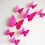 12 Pieces 3D Butterfly Stickrs Fashion Design DIY Wall Decoration House Decoration Babyroom Decoration-ROSE