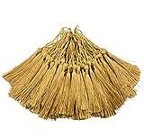 100pcs 13cm / 5 pulgadas Silky Floss marcador Borlas con 2-pulgadas Cord Loop y pequeño nudo chino para la fabricación de joyas, Recuerdo, Marcapáginas, DIY artesanía accesorio (Champagne)