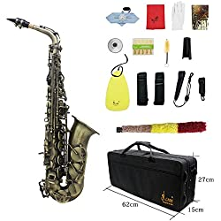 ammoon Haute Teneur Fini Antique Bend Eb E-plat Motif Saxophone Alto Sax Abalone Shell Touches Carve avec Gants Case Chiffon de Nettoyage Sangles Grease Brush