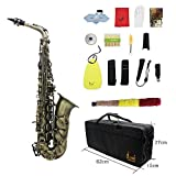 ammoon High Grade Antique Finish Bend Eb E-flat Alto Saxophone Sax Abalone Shell Key Carve Pattern with Case Gloves Cleaning Cloth Straps Grease Brush