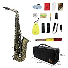 ammoon High Grade Antique Finish Bend Eb E-flat Alto Saxophone Sax Abalone Shell Key Carve Pattern with Case Gloves Cleaning Cloth Straps Brush