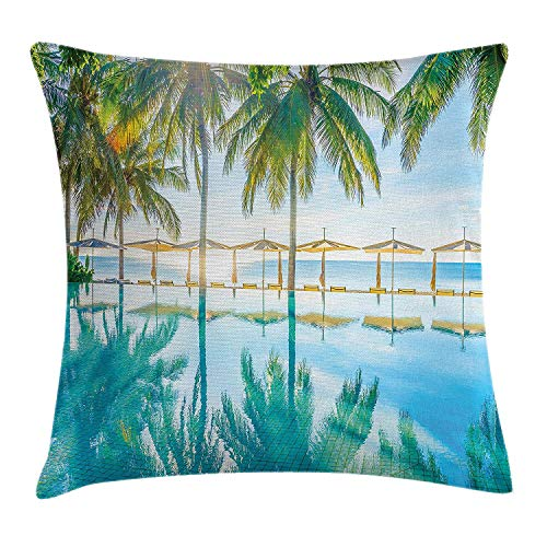 Yinorz Landscape Throw Pillow Cushion Cover, Pool by The Beach with Seasonal Eden Hot Sunny Humid Coastal Bay Photography, Decorative Square Accent Pillow Case, 18 X 18 inches, Green Blue (Green Bay Transfer)