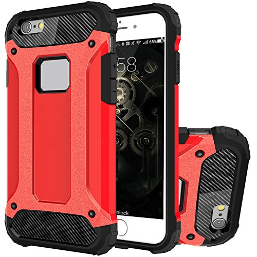 iPhone 7 Plus Coque, HICASER 2 en 1 Combo Hybride Housse Etui Robuste Protection [Full Body] Dual Layer Armure Lourde Case pour Apple iPhone 7 Plus 5.5-inch Noir Rouge