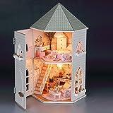 Rylai Wood Dollhouse Miniature DIY Kit w/ Light - Love Fort Series Dollhouses House Big Lovely Villa+Led light+Furniture