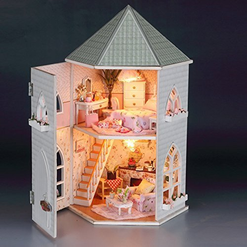 Rylai Wood Dollhouse Miniature DIY Kit w/ Light - Love Fort Series Dollhouses House Big Lovely Villa+Led light+Furniture