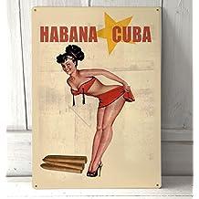 Habana Cuba anuncio rojo Bikini, cartel A4retro metal wall art