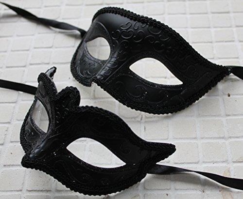 Sein und ihrs Paar Qualität Schwarz venezianische Maskerade Partei Karneval Masken