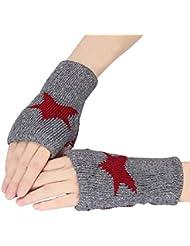 Tongshi Hombres Mujeres Winter Warmer Estrella de punto mitones sin dedos del brazo del guante