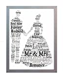 Framed Wedding Word Art A4 Print for the Bride & Groom. Wedding Photo Picture Present Keepsake Gift for New Husband and Wife