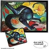Set: 1 Fußmatte Türmatte (60x40 cm) + 1 Mauspad (23x19 cm) - Franz Marc, Zwei Katzen, Blau und Gelb, 1912
