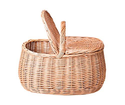 Preisvergleich Produktbild Picknickkorb mit Klappdeckel aus Hangeflochtener Vollweide K9