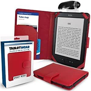 "Schutzhülle für Amazon Kindle in ROT (Alias: SD Folio Case / Fall / Hülle / Tablet Case / Cover / Pouch) mit Klipp-On LED Leselampe (Clip-On LED Reading Lamp) von G-HUB für 6"" (inch / zoll) Amazon Kindle 4 (Generation 4 / 2011 Release / Wi-Fi)"