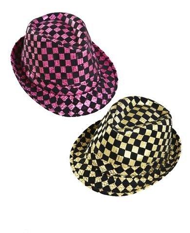 WIDMANN Karierte Pailletten Fedora Hut Kopfbedeckung Zubehör für 20er, 30er, 50er Jahre Gangster Mob Kostüm & ()