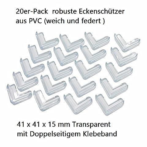 oule Coins de protection–en forme de L en PVC avec ruban adhésif double face Transparent 41x 41x 15mm Lot de 20.