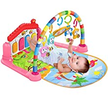 Surreal SM 3 in 1 Baby Play Mat and Activity Gym with Piano - Music and Lights - Pink - Suitable from Birth