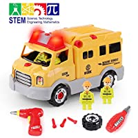 GILOBABY STEM Take Apart Toys Rescue Car, Kid Building Toy 31Pcs Educational Assembly Construction Toy,Build Your Own Car- Girl Boy, Toy Gift 3 Year to 7 Year (4 Figures 2 Drill Tools, Light& Sound)