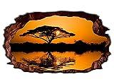 3D Wandtattoo Baum Afrika Savanne Sonnenuntergang Wandbild selbstklebend Wandmotiv Wohnzimmer Wand Aufkleber 11E681, Wandbild Größe E:ca. 168cmx98cm