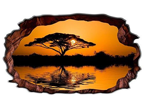 3D Wandtattoo Baum Afrika Savanne Sonnenuntergang Wandbild selbstklebend Wandmotiv Wohnzimmer Wand Aufkleber 11E681,...