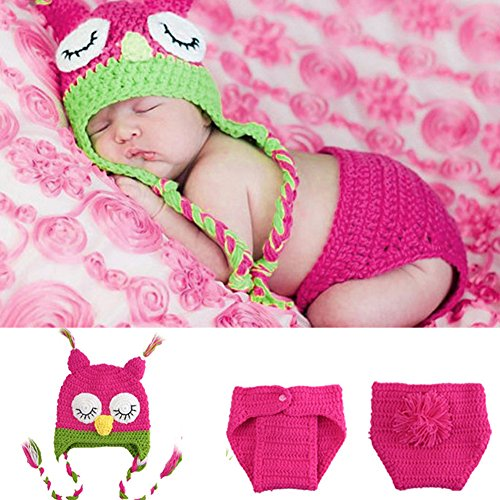 Süß Eule Baby Mädchen Foto Shooting Strick Gehäkelt Kostüm Stickmütze + Pants