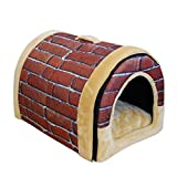 Jiyaru Haustiernest Hundehütte Haustierkorb Für Hunde Katzen Ziegelrot L