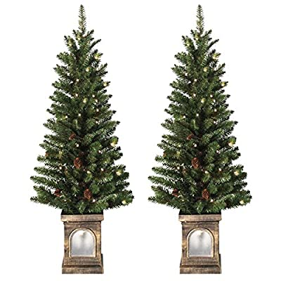 Pair Of 4ft Pre-Lit Green OUTDOOR Pathways Christmas Trees (120cm) Battery Operated