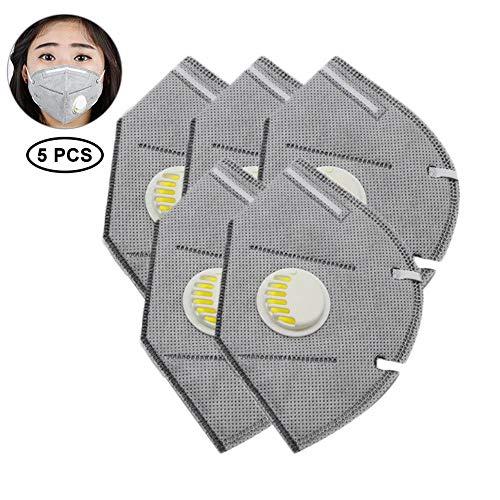 Einweg-luftfilter (Womdee PM2.5 Anti-Verschmutzungsmaske, 5-lagige Aktivkohle-Luftfilter-Maske, Anti-Staub, Gesichtsmaske mit Einweg-Ventil, Mundmaske, Anti-Verschmutzung für BAU, Verkehrsstaub, Rauch, 5 Stück)